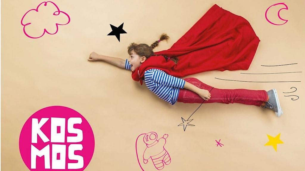 Flicka flyger som en superhjälte