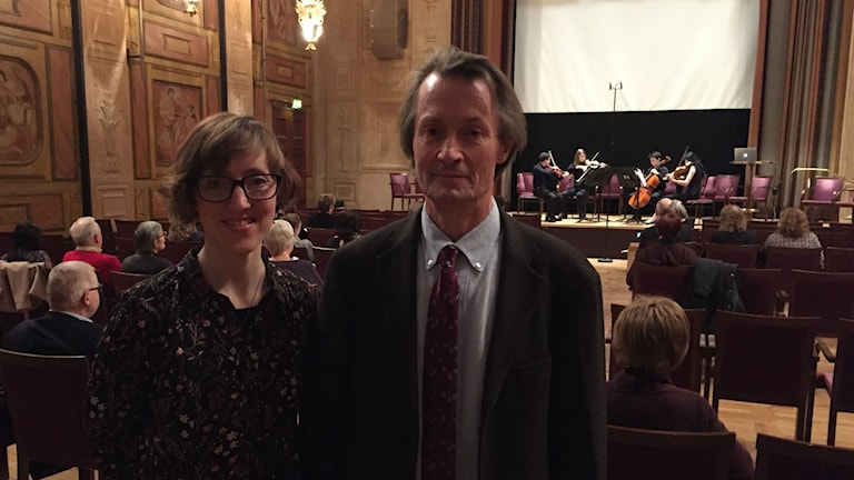 Orkesterledaren Abigail Alwin från Ann Arbor, Michigan, USA och dirigenten Göran Staxäng på Forum 21.