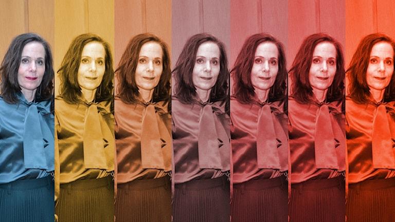 Sara Danius i olika färgskalor.