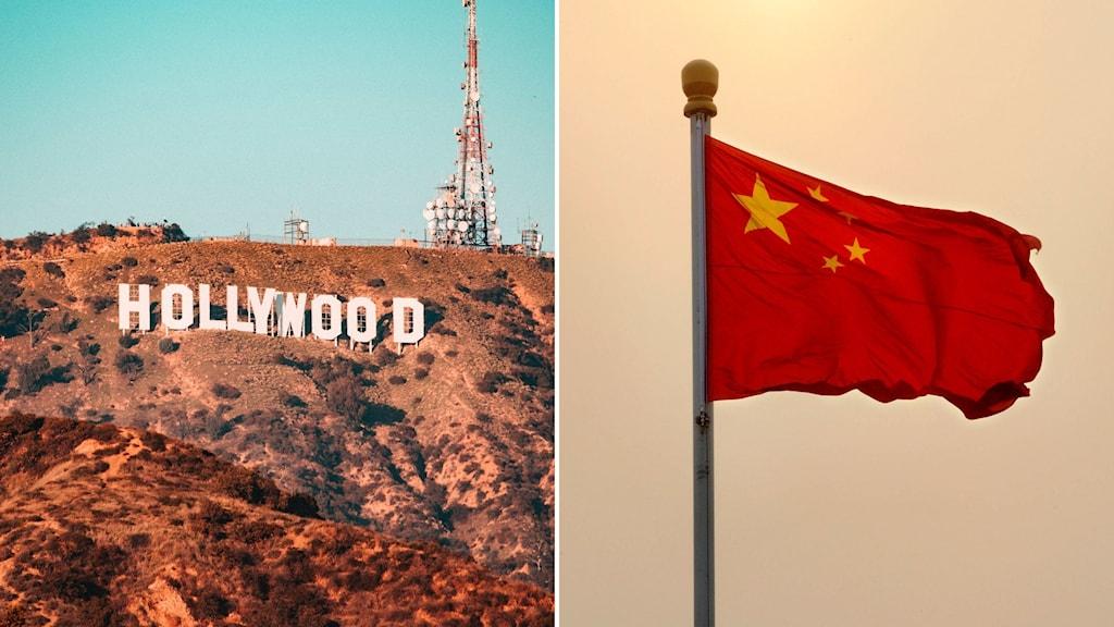 Hollywoodskylten och den kinesiska flaggan.