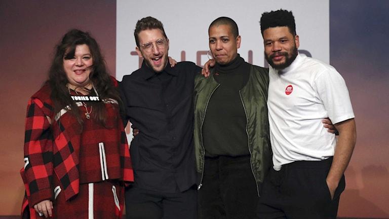 Tai Shani, Lawrence Abu Hamdan, Helen Cammock och Oscar Murillo, som delar på årets Turnerpris.