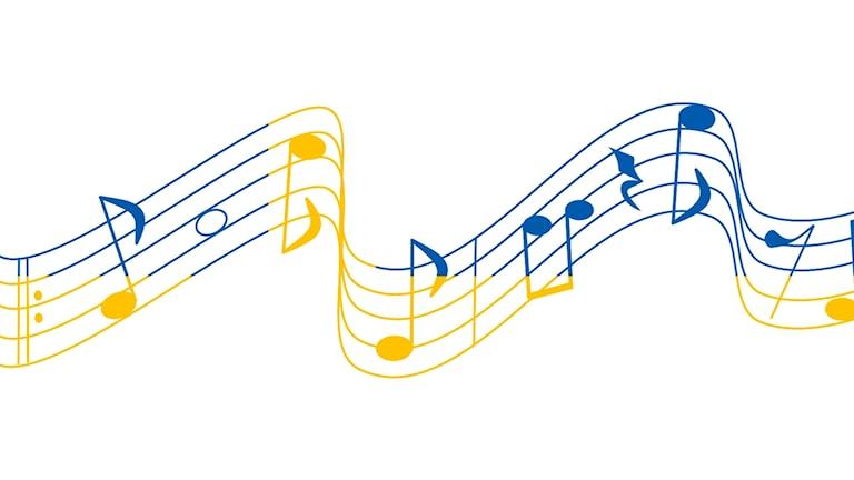 Noter i gult och blått.