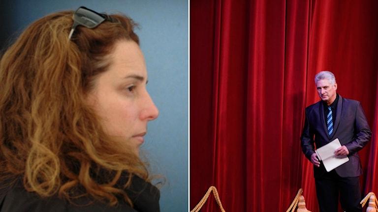 Konstnären Tania Bruguera har gripits flera gånger nu i veckan. Kubas president är Miguel Díaz-Canel.