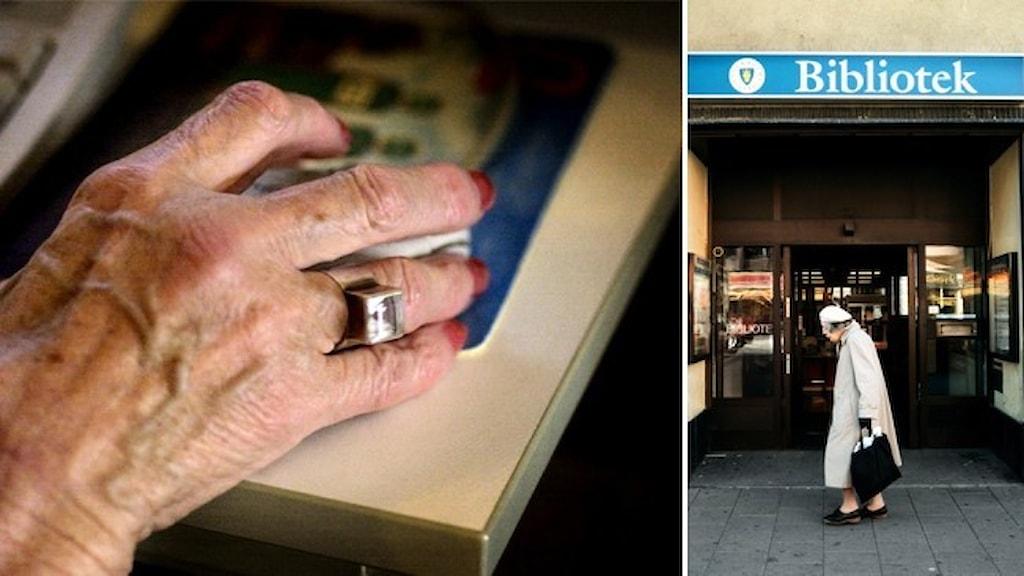 En äldre persons hand håller i en datormus och en äldre kvinna går förbi ett bibliotek.