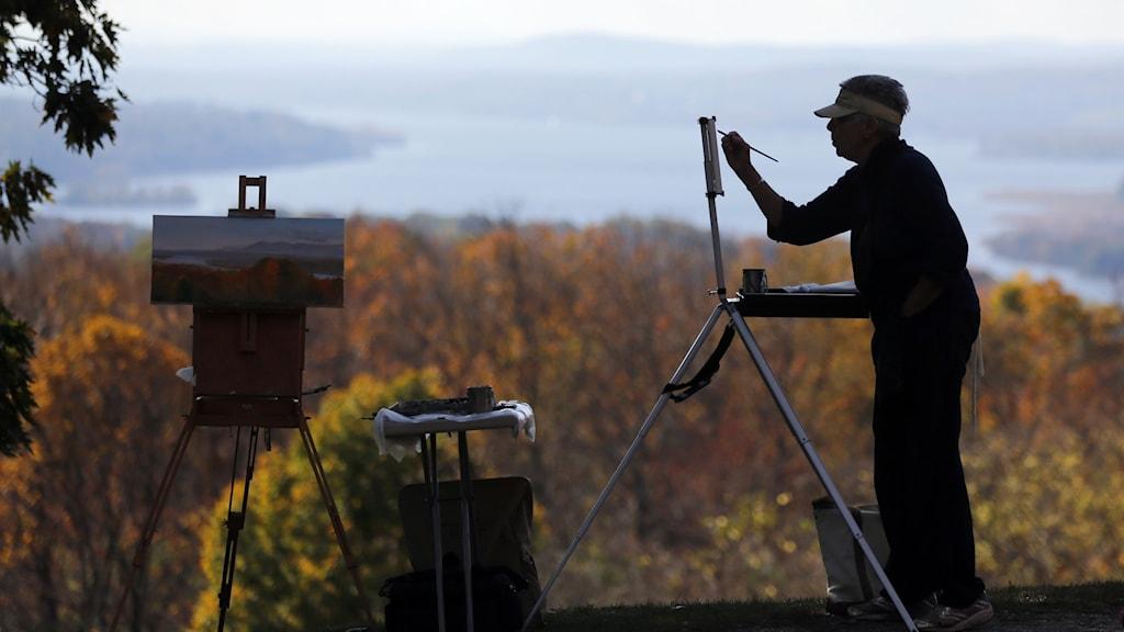 Arkivbild av en man som målar.