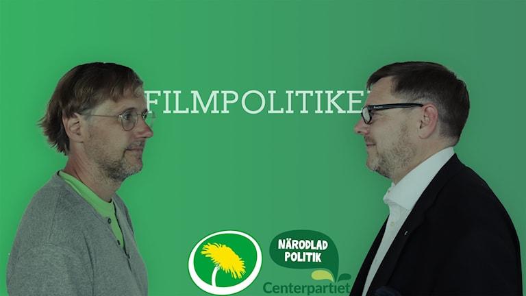 Niclas Malmberg (MP) och Per Lodenius (C) diskuterar filmpolitik.