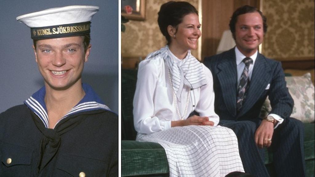 Porträttbild av kungen Karl XVI Gustaf under hans värnplikt och en bild på drottning Silvia tillsammans med kungen.