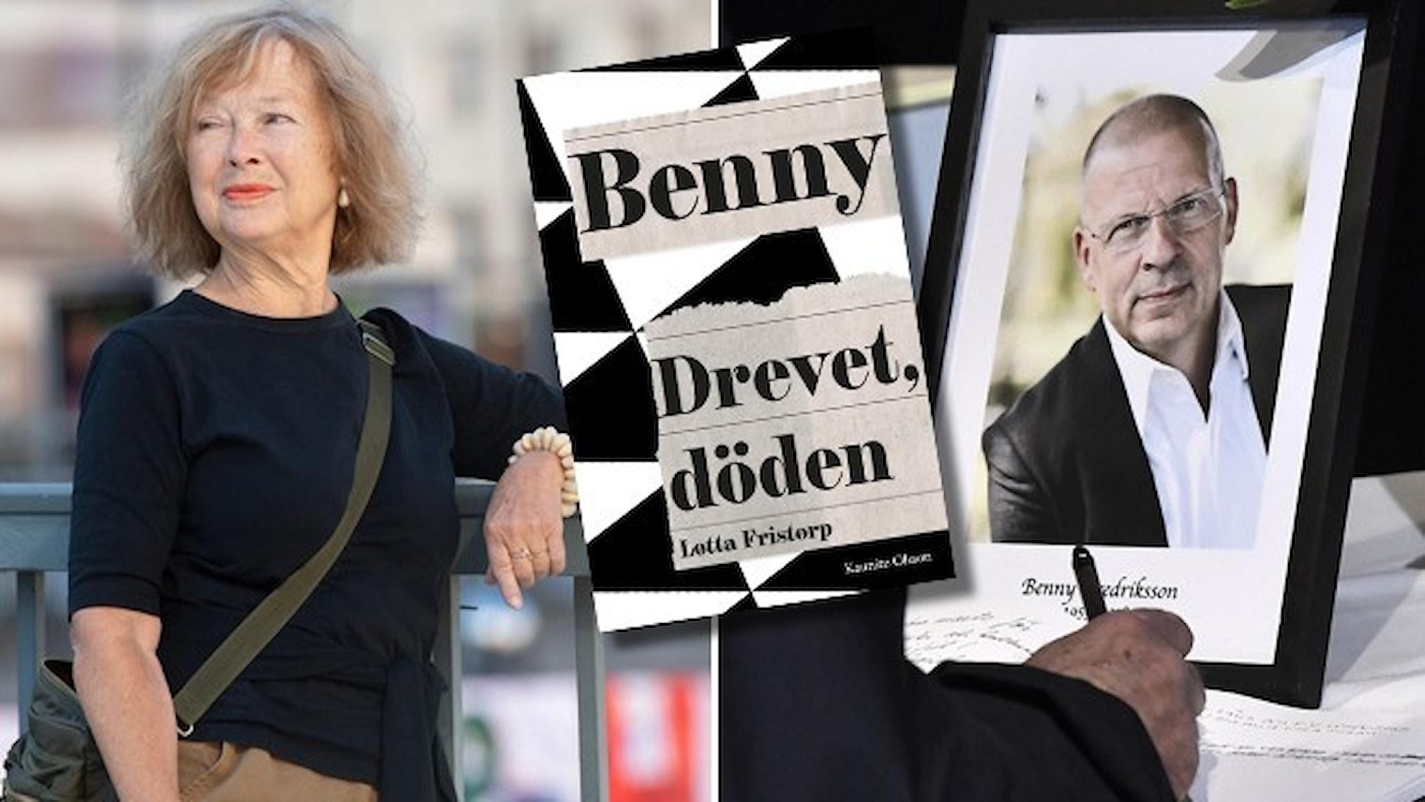"""Författaren Lotta Fristorp står lutade mot ett staket vid Sergels torg och en bild av ett porträtt av Benny Fredriksson. Infällt är omslaget till Fristorps bok """"Benny. Drevet, döden""""."""