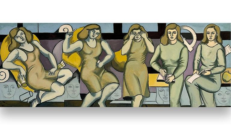 Kvinnans ideal och verklighet, olja på duk, 1976, förstudie till miljögestaltning i Akalla tunnelbanestation
