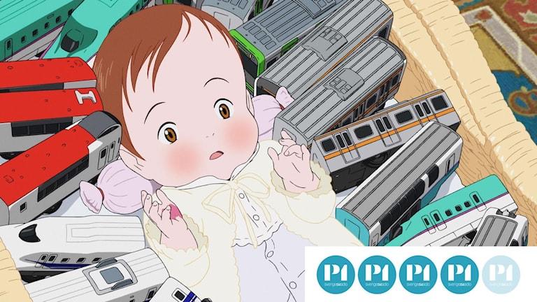 Lillasyster Miraï har fått låna brorsans tåg.