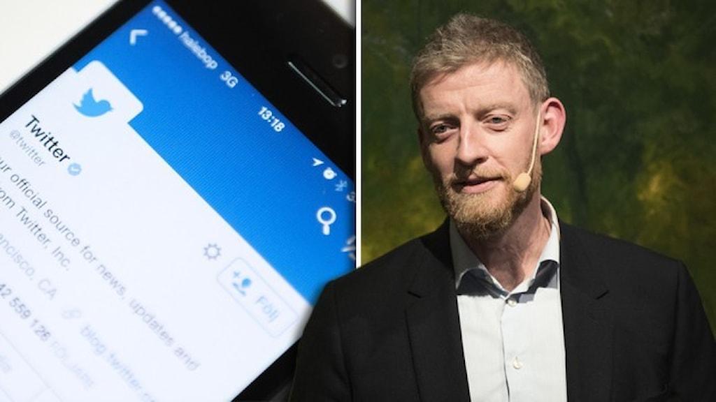 En mobiltelefon med twitter och ett porträtt av Svenska PEN:s ordförande Jesper Bengtsson.