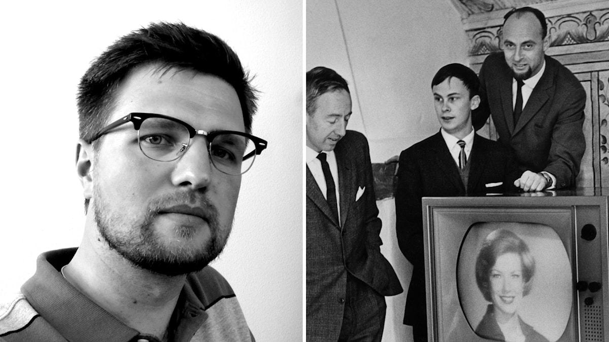 Konstvetaren David Rynell Åhlén (t.h) och provsändning med färg-tv från Delsbogården på Skansen 1964 (t.v).