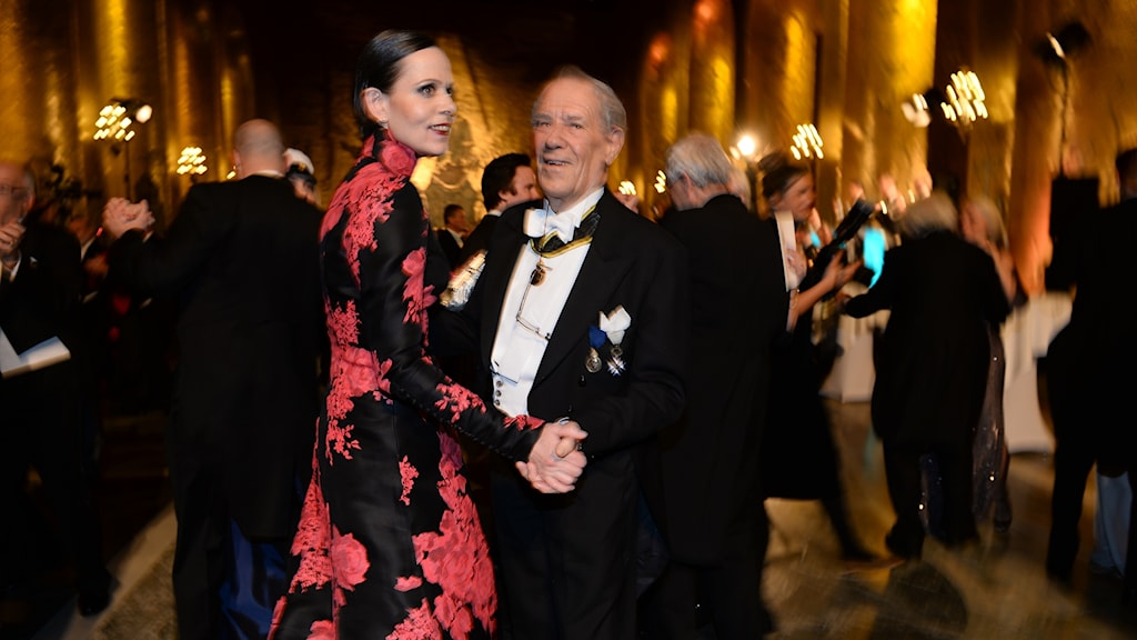 Sara Danius och Per Wästberg på Nobelfesten 2015,