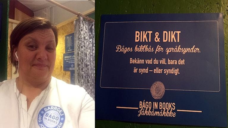 Anne Wuolab, Bágo författarförening, framför Bikt och Diktbåset på samiska litteraturfestivalen i Jokkmokk.