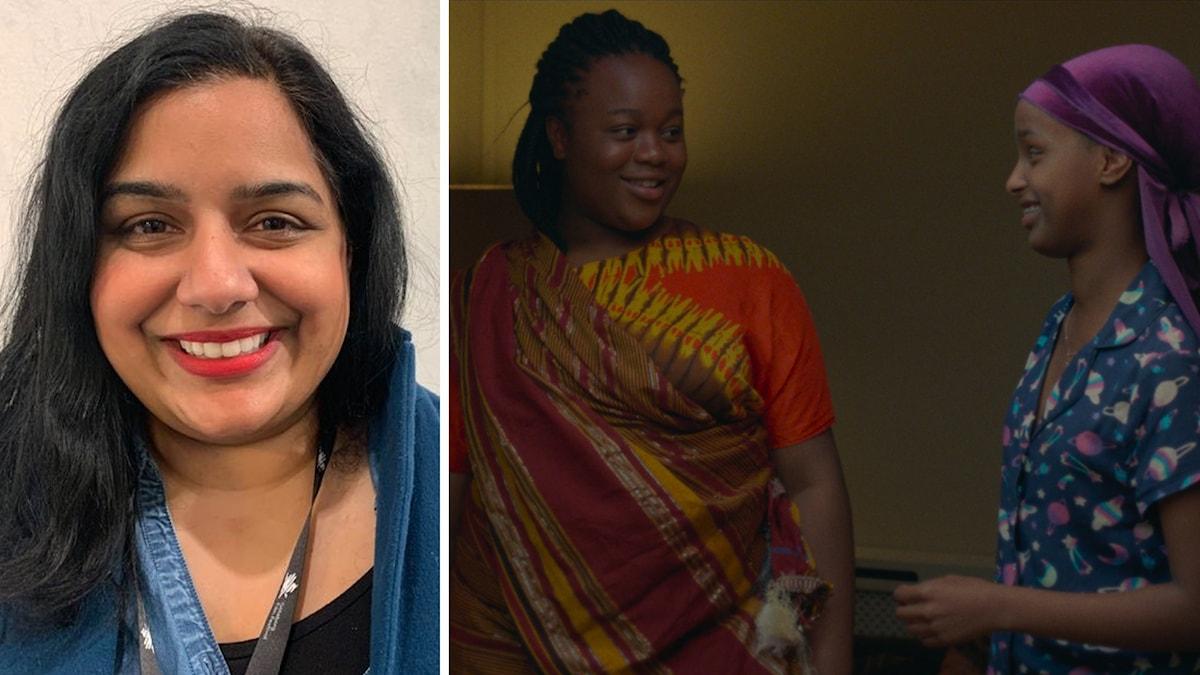 T.vh producent Ameenah Ayub Allen. T.h skådespelarna Bukky Bakray (Rocks) och Kosar Ali (Sumaya). Foto: SR/ Folkets Bio