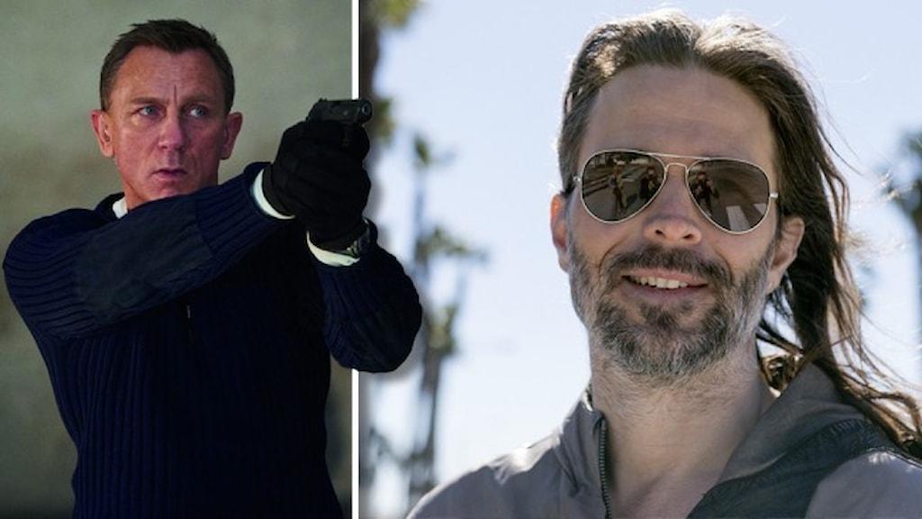 Daniel Craig som James Bond, riktar en pistol mot höger. Porträtt av Linus Sandgren, ansvarig för fotot, i solglasögon framför en rad med palmer.