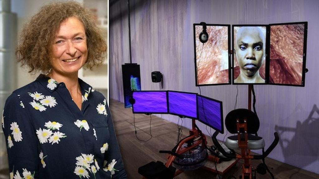 """Porträtt av Karin Hermerén, konserveringschef på Moderna Museet och en bild från utställningen """"Manipulera världen""""."""