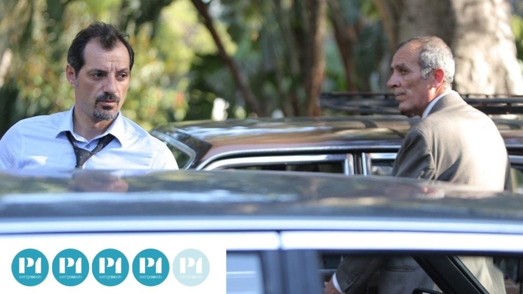 Toni (Adel Karam) och Yasser (Kamel El Basha) möts utanför rättssalen.