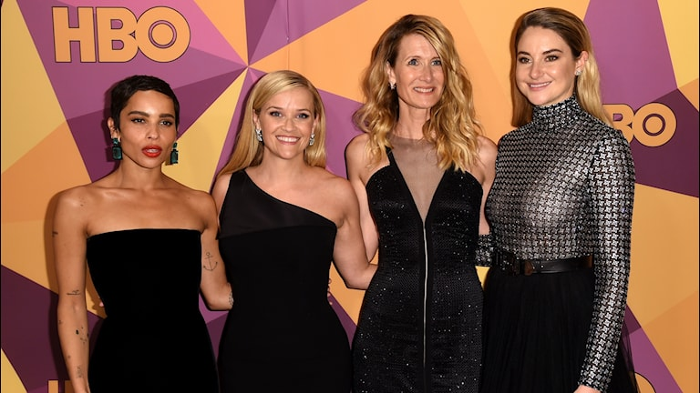 Zoe Kravitz, from left, Reese Witherspoon, Laura Dern, and Shailene Woodley arriv