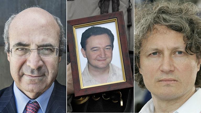 """Miljardären William """"Bill"""" Browder, ett porträtt av Sergei Magnitskij och regissören Andrej Nekrasov."""