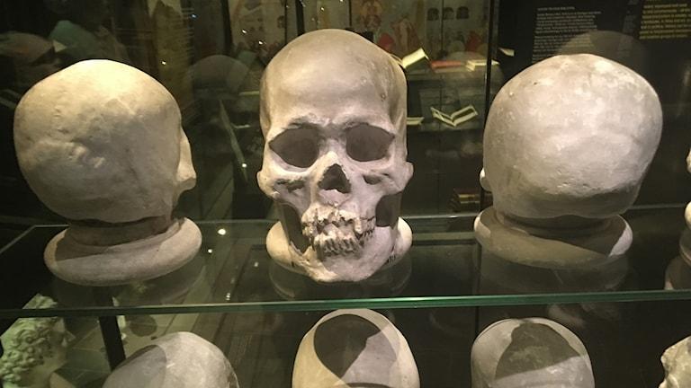 """Dödskallar på Historiska museets omdiskuterade utställning """"History Unfolds"""" från förra hösten, som fortfarande står kvar."""