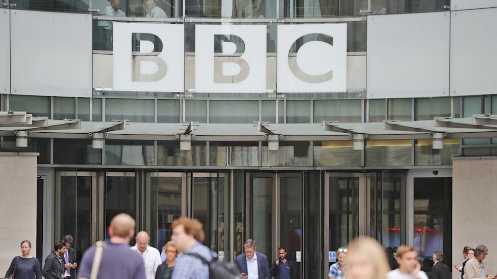 Huvudingången till BBC i London.