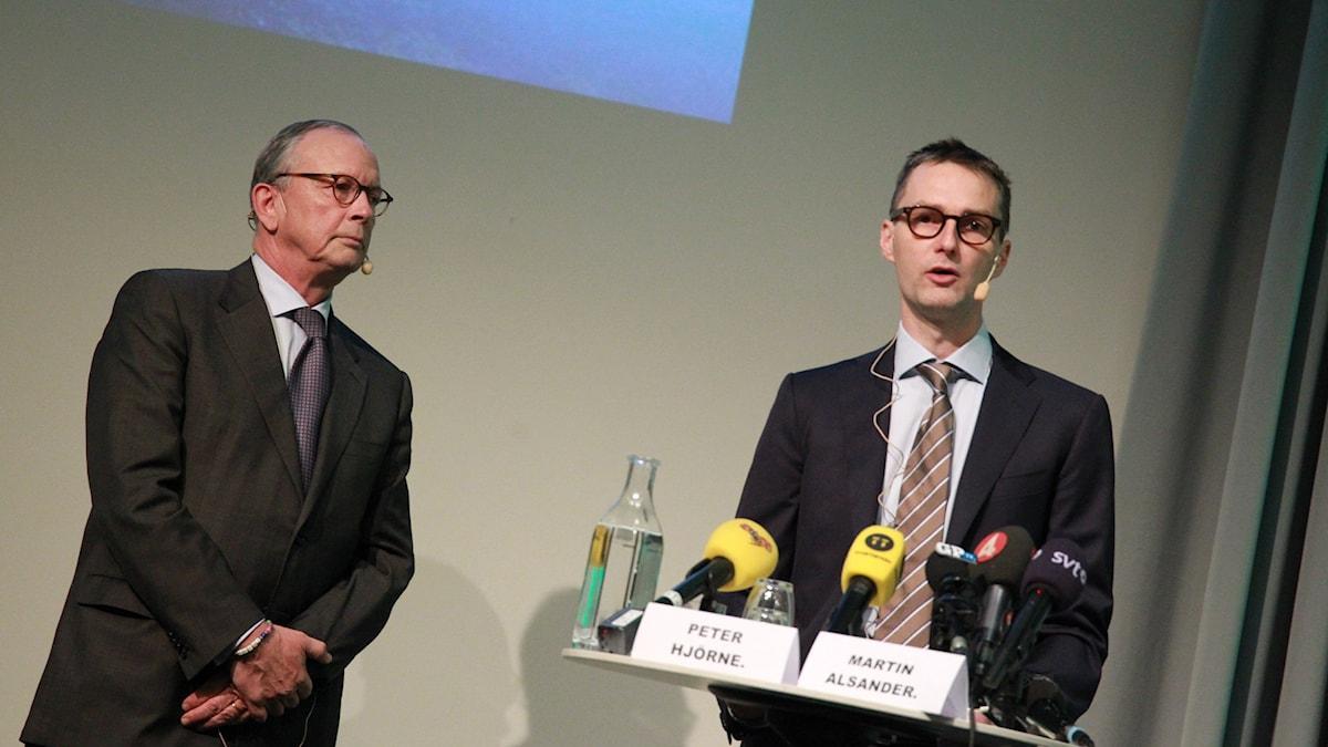Stampens styrelseordförande samt huvudägare Peter Hjörne och koncernchef Martin Alsander under pressträffen på Svenska mässan i Göteborg.