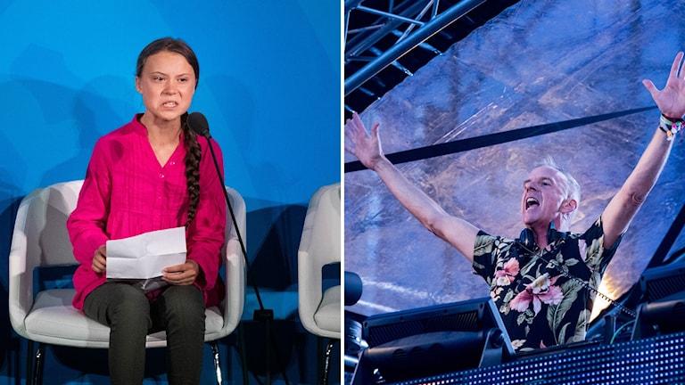 Greta Thunberg i FN och Fatboy Slim vid en Stockholms-spelning 2016.