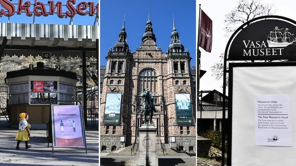 Tre bilder på fasaderna till: Skansen, Nordiska museet och Vasamuseet.