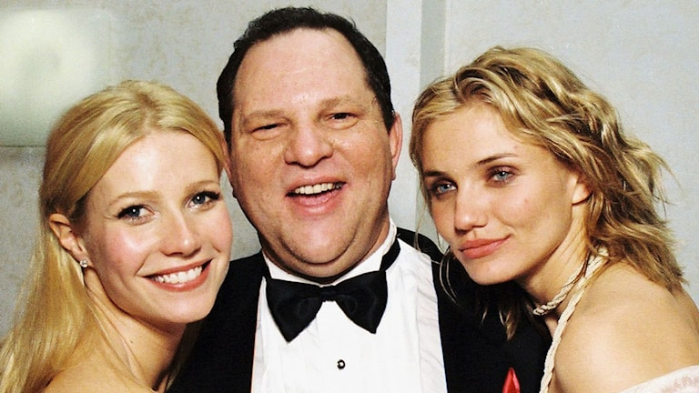 Gwyneth Paltrow, Harvey Weinstein och Cameron Diaz på Miramax Golden Globe Party.