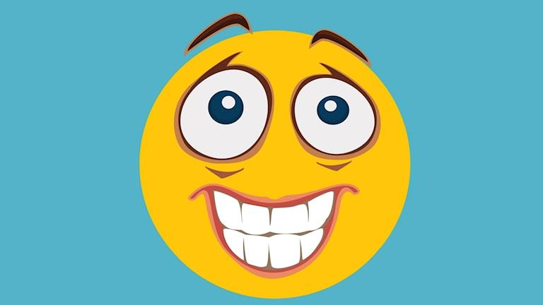 En emojifigur gör ett obekvämt ansiktsuttryck.