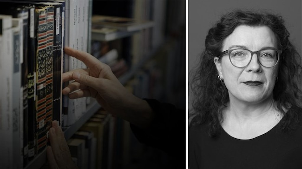 En hand som sträcker sig efter en bok i en bokhylla. Porträttbild infälld på Linda Altrov Berg är chef för Norstedts Agency.