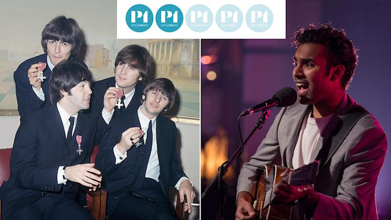 "The Beatles och Himesh Patel som Jack Malik i filmen ""Yesterday""."