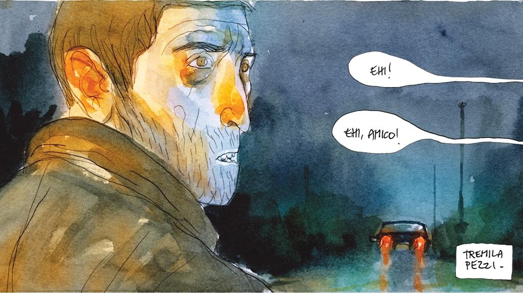 """Ur seriealbumet """"En historia"""" av Gian-Alfonso Pacinotti. Foto: Nubeculis förlag"""