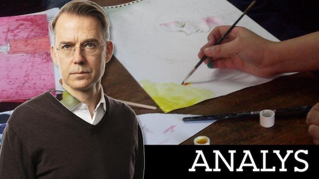 Ett porträtt av Kulturnytts expert Mårten Arndtzén frilagd mot en bakgrund där en hand målar med vattenfärg.