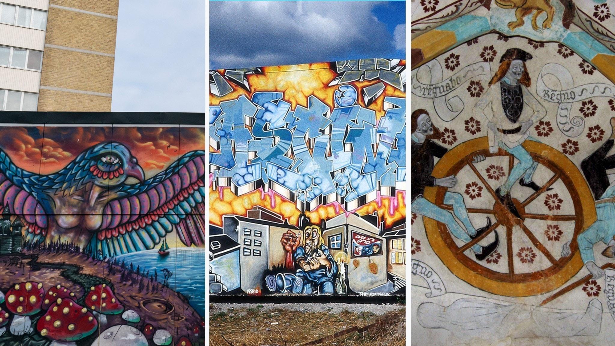 Väggmålningar utomhus och i kyrka