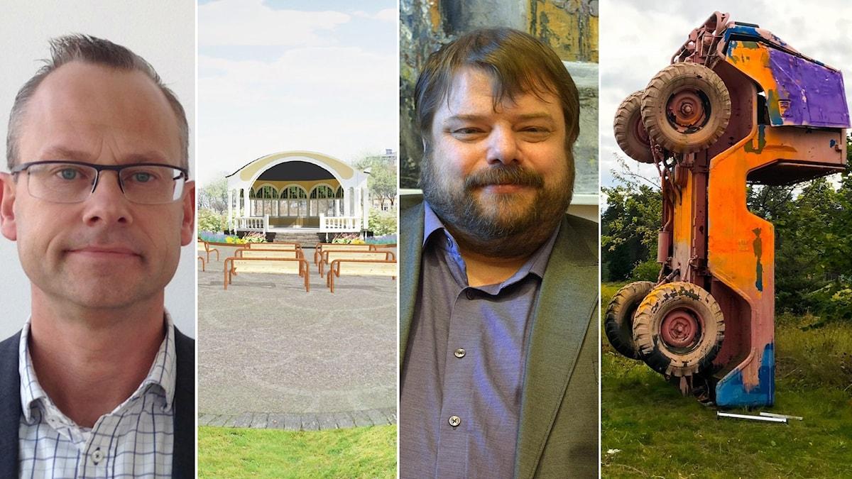 """Patrik Jönsson, SD Hässleholm; musikpaviljongen i Hässleholm; Richard Carlsson, SD Gävle, och det omdiskuterade konstverket """"Priapos trädgård"""" efter att det vandaliserats."""
