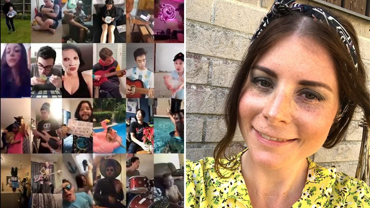 Ett collage av mobilbilder samt porträtt av ung kvinna i gul blus