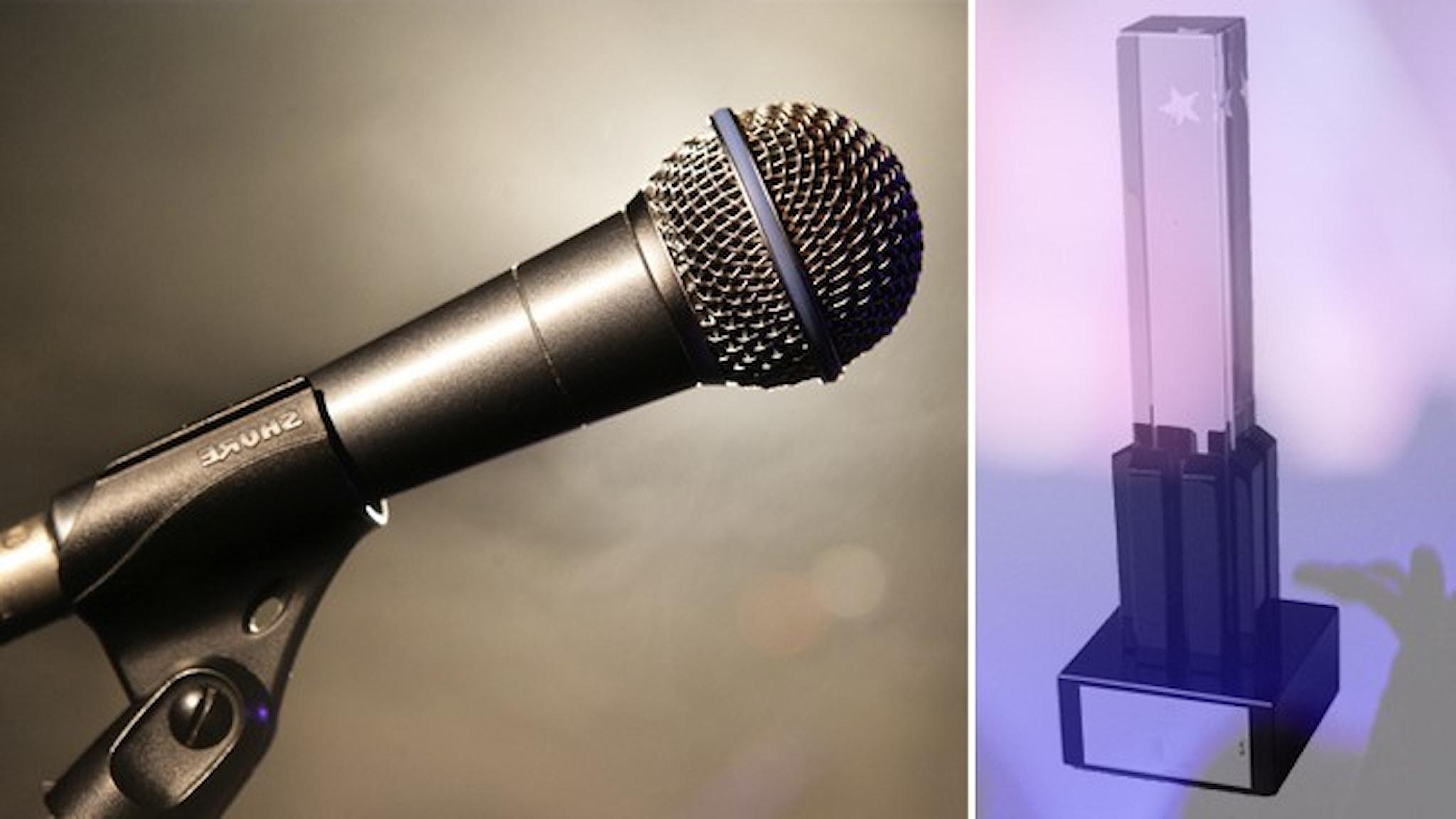 En mikrofon och en grammisstatyett.