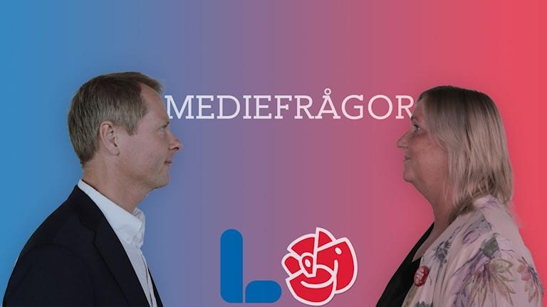 Christer Nylander (L) och Gunilla Carlsson (S) diskuterar mediefrågor.