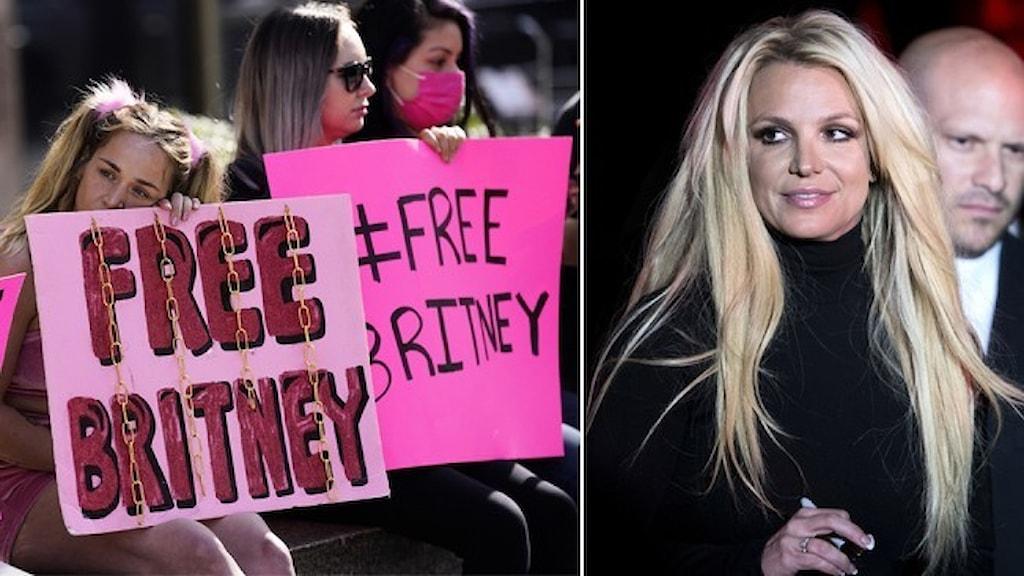 """Fans med skyltar """"Free Britney"""" och ett porträtt av popstjärnan Britney Spears."""