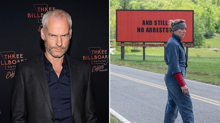 """Regissören Martin McDonagh och Frances McDormand i filmen """"Three billboards outside Ebbing, Missouri""""."""
