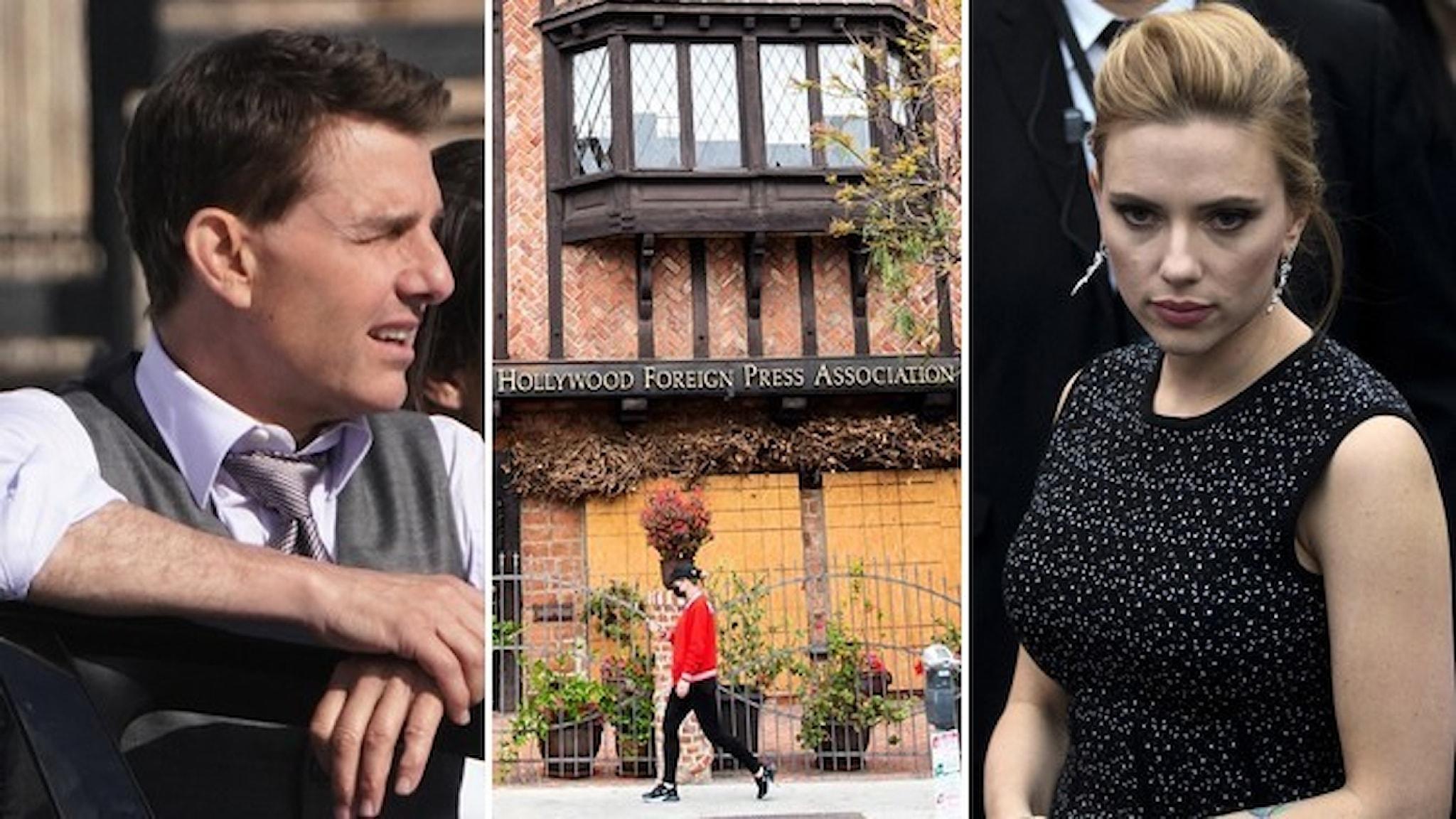 Porträtt av Tom Cruise och Scarlett Johansson samt fasade till organisationen Hollywood foreign press association.