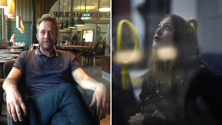 """Manusförfattaren Erik Ahrnbom samt ur """"Stockholm stories"""" som han skrivit manus till."""