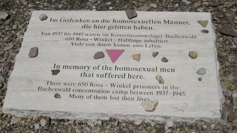 Bild av minnessten över de homosexuella som mördades i koncentrationslägret Buchenwald