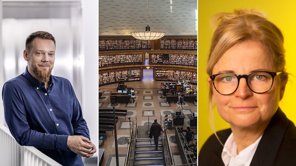 Daniel Forsman, stadsbibliotekarie i Stockholm, och Karin Linder, generalsekreterare på Svensk biblioteksförening.
