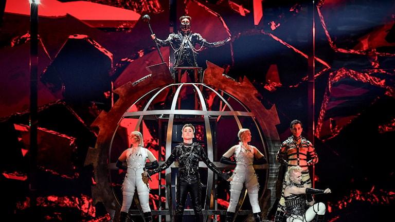 Isländska Hatari på genrepet i Eurovision Song Contest.