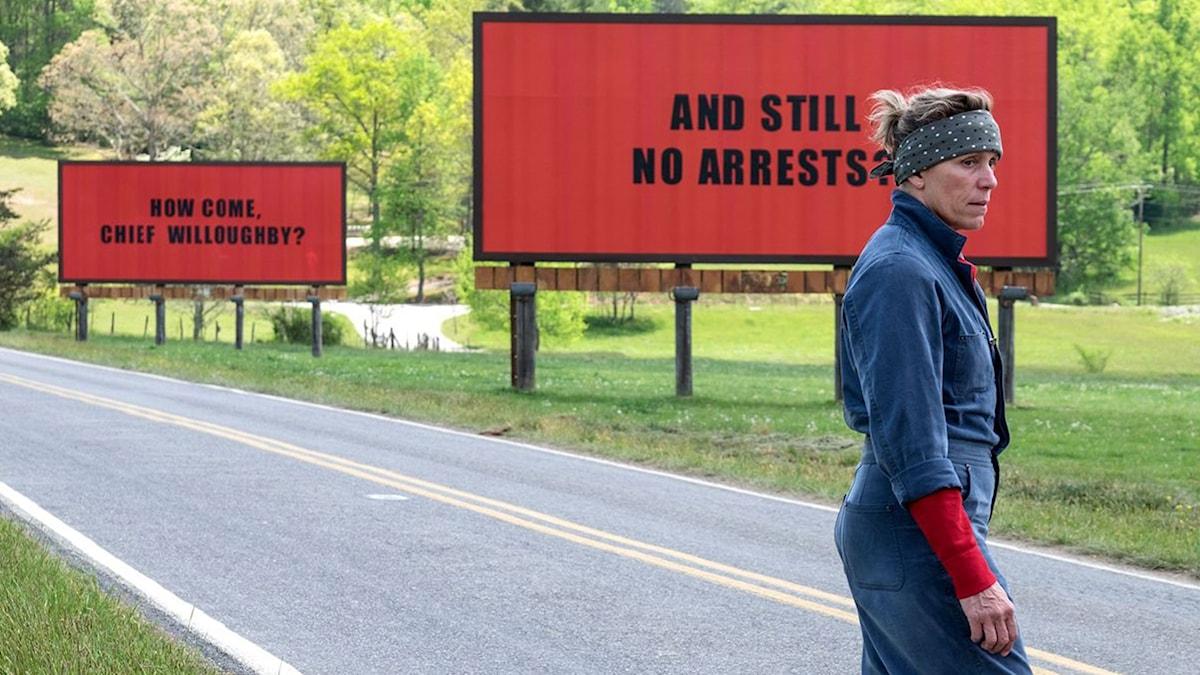"Frances McDormand i ""Three billboards outside Ebbing, Missouri""."