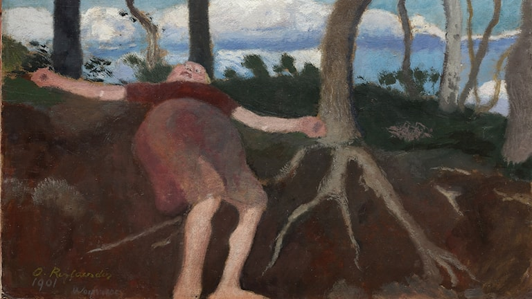 Liggande flicka under träd. Ottilie Reylaender, 1901. Privat ägo.
