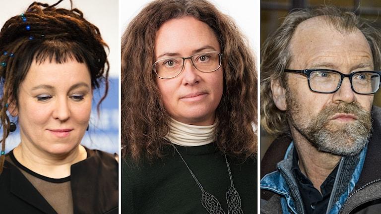 Olga Tokarczuk, Anna Tullberg och George Saunders.